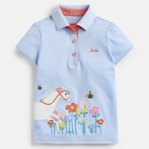 New Joules Blue Floral Horse Polo Shirt Top